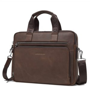 "BISON DENIM Brand Men's Briefcase Satchel Bags Genuine leather 14"" Laptop Handbag Business Crossbody Shoulder Bags N2333-3"