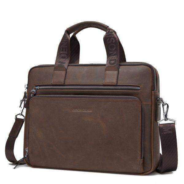 "BISON DENIM Brand Men's Briefcase Satchel Bags Genuine leather 14"" Laptop Handbag Business Crossbody Shoulder Bags N2333-3"