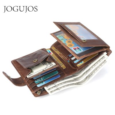 JOGUJOS Crazy Horse Leather Men's Wallet Genuine Leather Men Business Wallet Men Card Id Holder Coin Purse Travel wallet For Man
