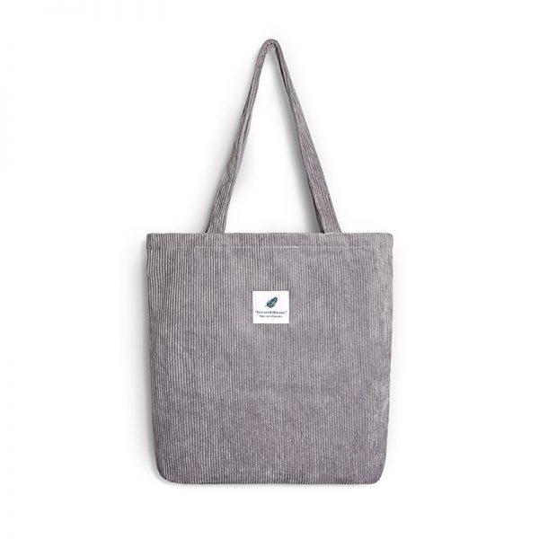Women Corduroy Shopping Bag Female Canvas Cloth Shoulder Bag Environmental Storage Handbag Reusable Foldable Eco Grocery Totes