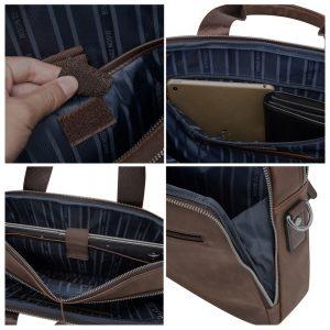BISON DENIM Brand Men's Briefcase Satchel Bags Genuine leather 14