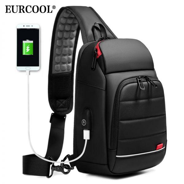 "EURCOOL 2019 NEW Men Chest bag for 9.7"" iPad USB Charging Short Trip Messenger Bags Water Repellent Crossbody Shoulder Bag n1901"