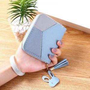 Geometric Luxury Brand Leather Wallets Women Long Zipper Coin Purses Tassel Design Clutch Wallet Female Money Credit Card Holder