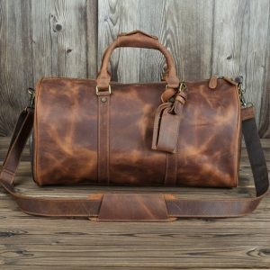 Genuine Leather Men Travel Bags Shoe Pocket Hand Luggage Bags Crazy Horse Leather Outdoor Duffle Bags