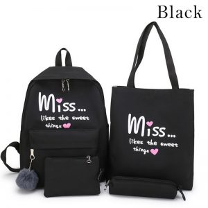 5 Piece Set High School backpack Bags for Teenage Girls 2020 Canvas Travel Backpack Women Bookbags Teen Student Schoolbag