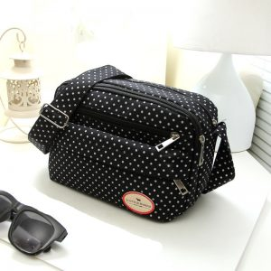 Summer Fashion Polka Dot Multicolor Printed Canvas Women's Crossbody Bag Trend Shoulder Bag Nylon Leisure Messenger Bag